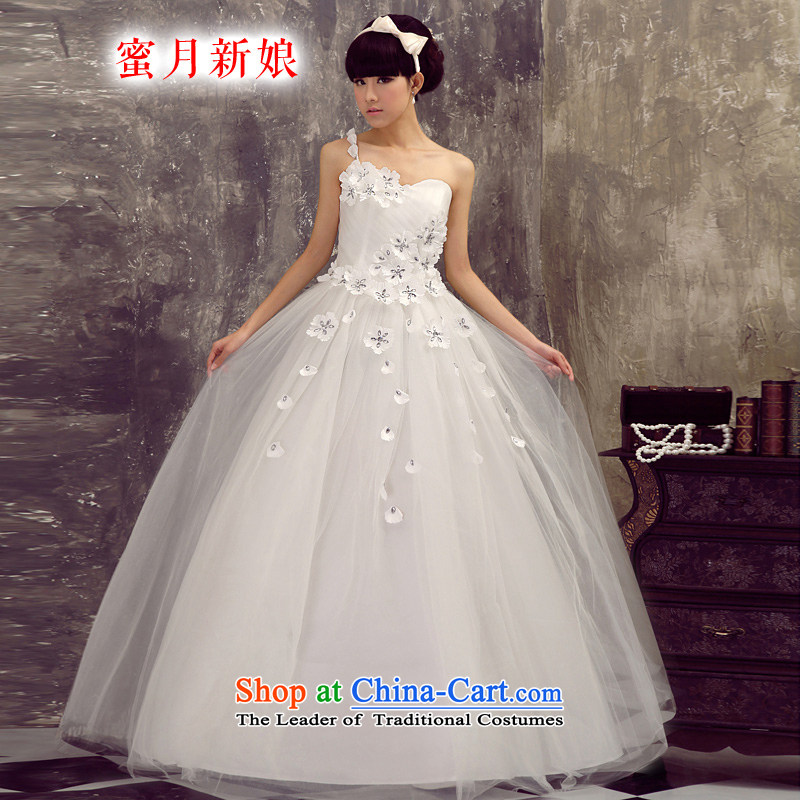 Honeymoon bride shoulder wedding Beveled Shoulder wedding bride wedding wedding dresses new 2015 princess sweet white wedding聽S