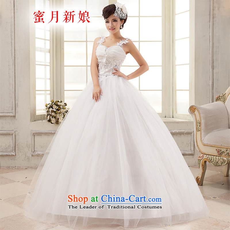 Honeymoon bride wedding dresses 2015 new water drilling flowers bride wedding princess shoulders wedding White M