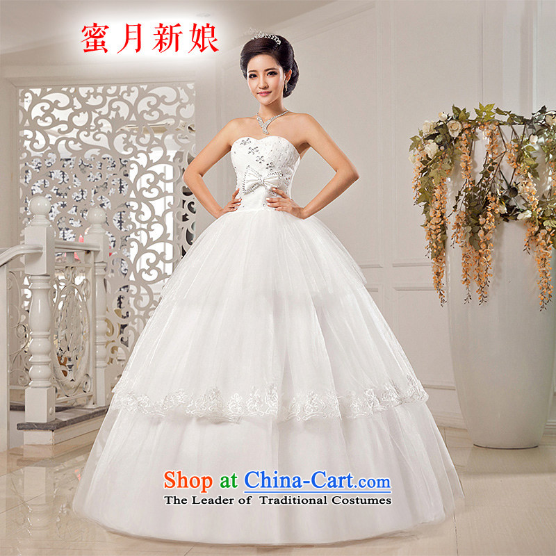 Honeymoon bride wedding dresses?2015 new stylish wedding gown, chest and cultivating the bow tie straps princess wedding White?M