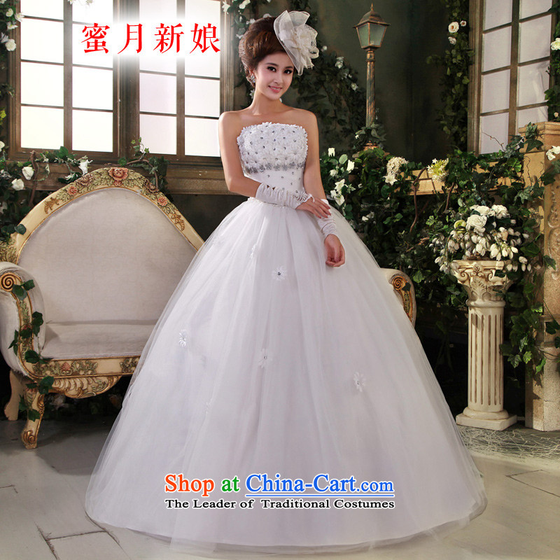 Honeymoon bride聽2015 Summer new water drilling flowers bride wedding Korean Won-New Sweet Princess Wedding White聽XXL
