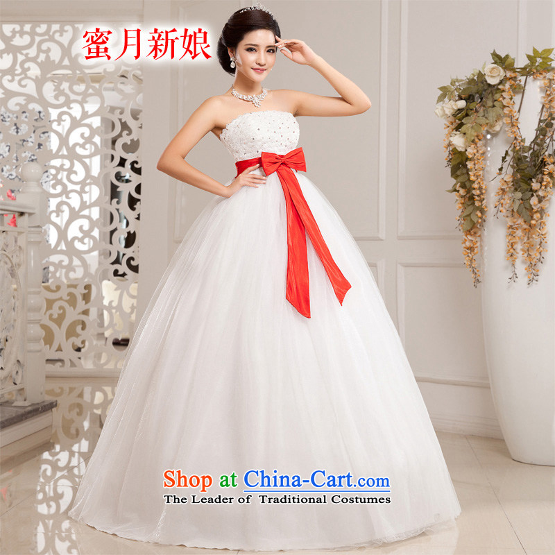 Honeymoon bride wedding dresses?2015 new Korean Bow Tie Top Loin anointed chest wedding princess bon bon wedding White?M