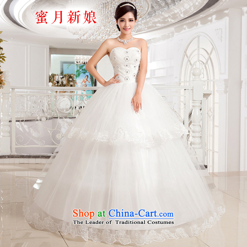 Honeymoon bride wedding dresses?2015 new stylish wedding gown, chest and Sau San sexy straps princess wedding white?XS