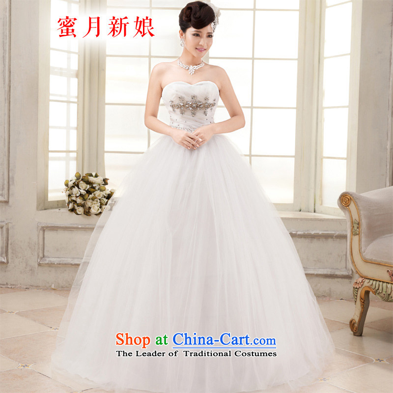 Honeymoon bride wedding dresses聽2015 new diamond wiping the chest wedding Korean version thin straps princess wedding white聽S