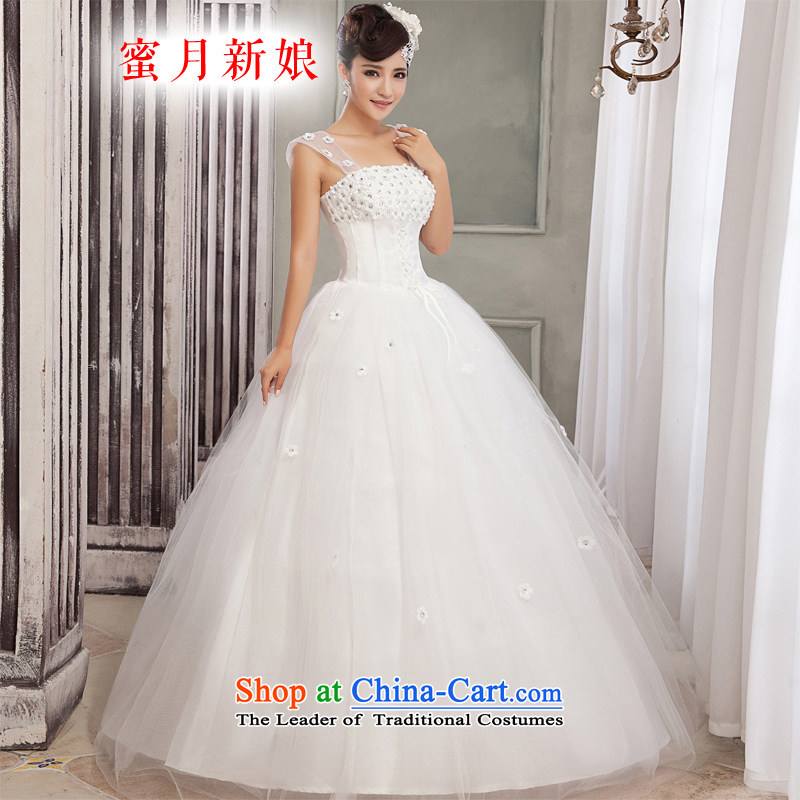 Honeymoon bride wedding dresses?2015 new Korean shoulder straps wedding Flower Princesses bon bon wedding white?L