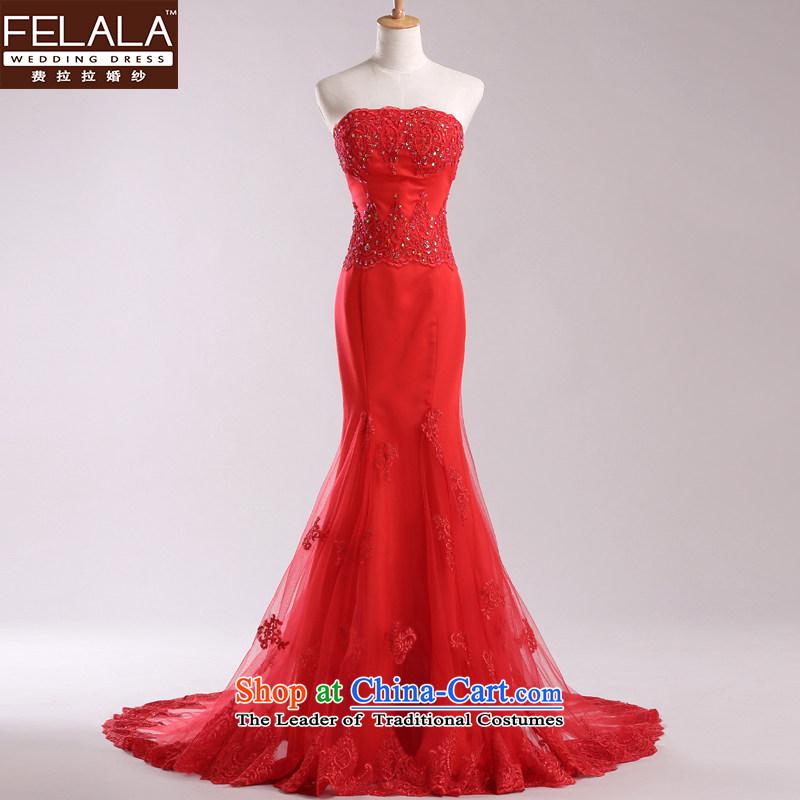 Ferrara red anointed chest wedding dresses 2013 new luxury lace crowsfoot small trailing evening dress autumn and winter S(1 red tape 9)