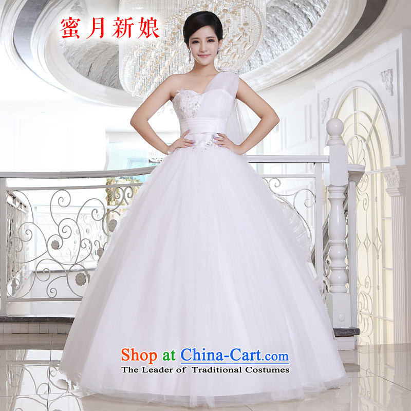 Honeymoon bride wedding dresses 2015 new Korean Princess shoulder ribbons wedding to align the strap bon bon wedding white�XS
