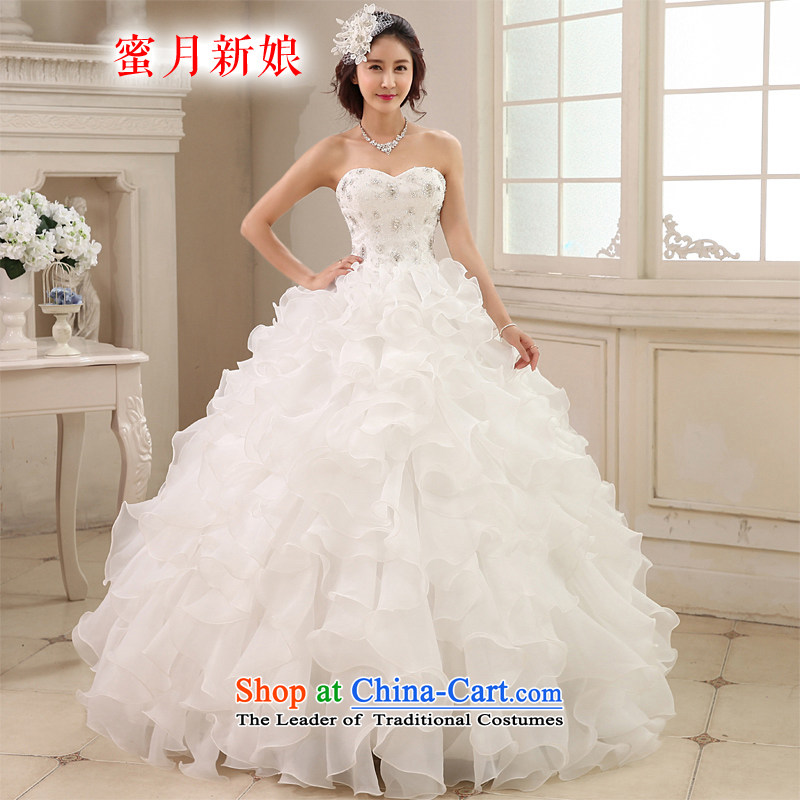 Honeymoon bride聽2015 new products wedding dresses Korean bon bon Princess Mary Magdalene chest wedding diamond align to bind with the white聽M