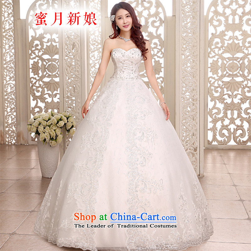 Honeymoon bride 2015 new products wedding dresses and wedding to align the chest straps bon bon princess wedding White XL