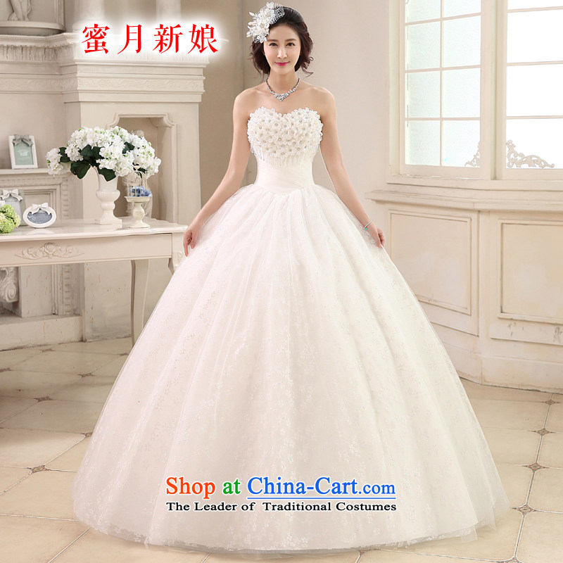 Honeymoon bride wedding dresses 2015 new Korean sweet Princess Mary Magdalene chest wedding flower align to bind with Wedding White?M
