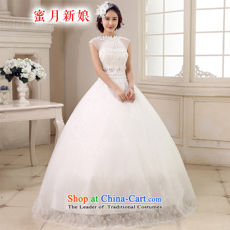 Honeymoon bride 2015 new products wedding dresses Korean princess also wedding Align hook to bind with diamond wedding White?XL