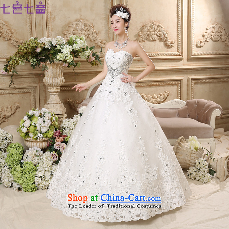 7 Color 7 tone Korean won the new version of 2015 heart-shaped anointed chest wedding marriages large graphics to align the thin wedding dresses�H018�white�S