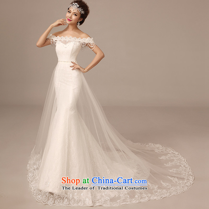 2015 Autumn and winter new one field for a crowsfoot wedding shoulder long tail lace pearl crowsfoot large tail wedding dresses white�L