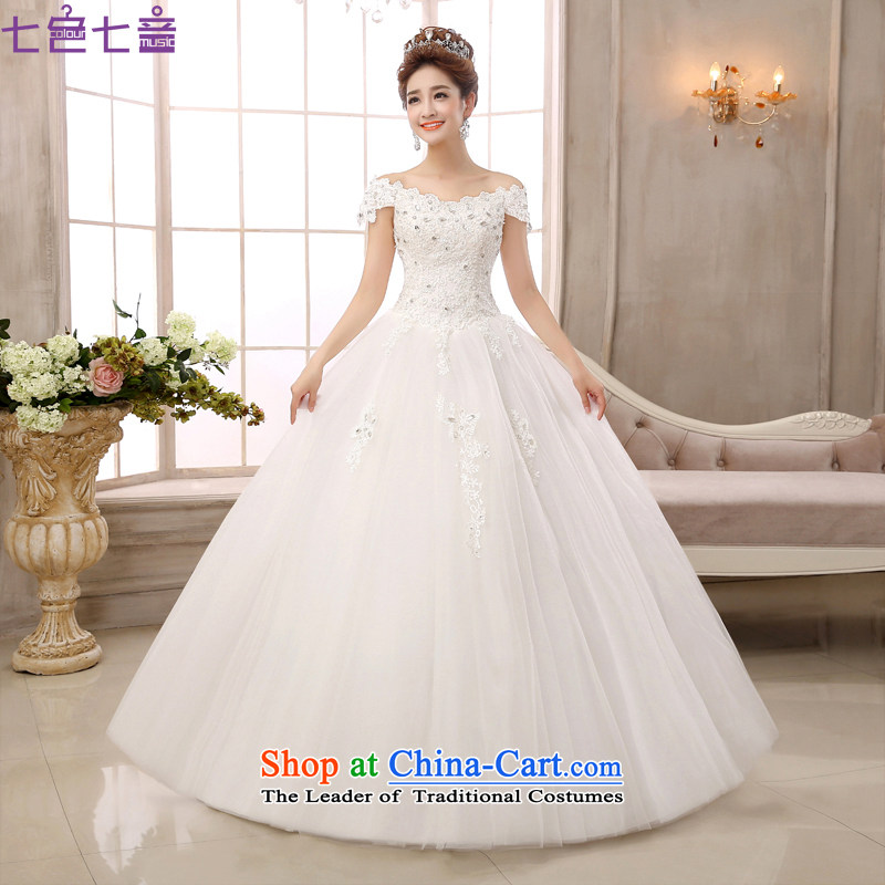 7 Color 7 tone Korean New 2015 straps to align the minimalist large graphics thin lace a shoulder wedding dresses聽H021聽White聽M