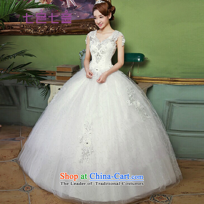 7 color tone of nostalgia for the Korean version of 7 2015 White new stylish lace, align to light V-Neck Knitted wedding dress聽H030聽white to align the聽M