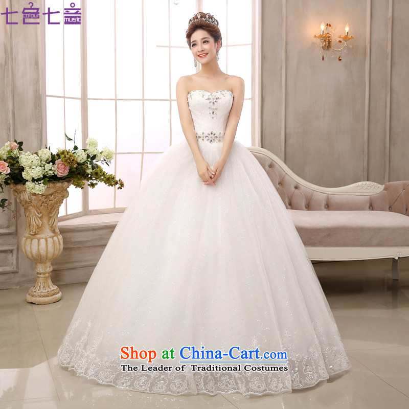 7 Color 7 tone Korean New anointed chest 2015 straps to align on large elegant drill video thin bon bon skirt wedding dresses?H025?White?M
