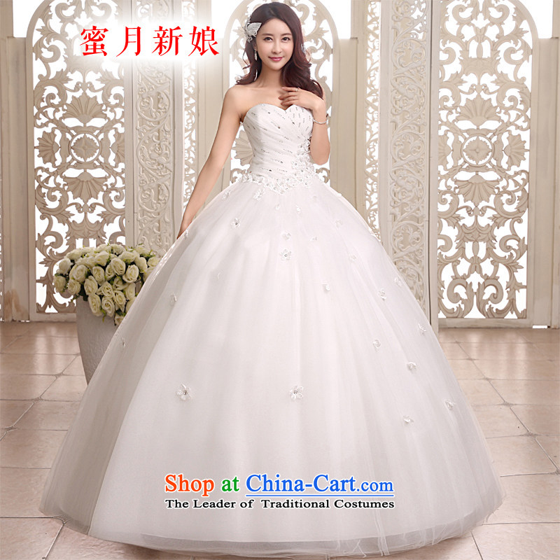 Honeymoon bride 2015 new products wedding dresses Princess Mary Magdalene chest wedding to align bon bon straps wedding White XL