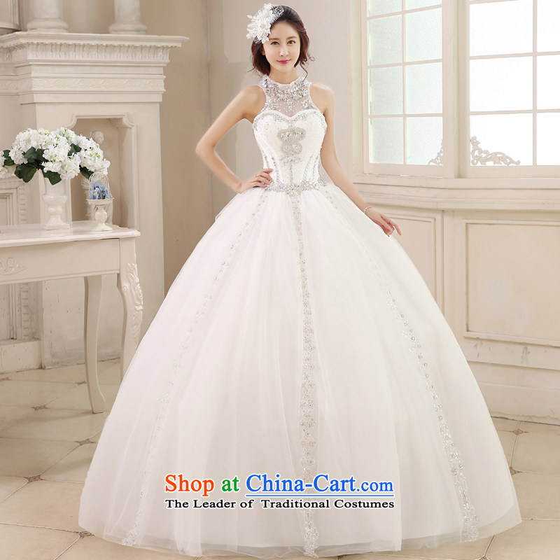 Honeymoon bride in spring and summer 2015 new products wedding Korean history wedding to suspend manually align with diamond bon bon White聽M