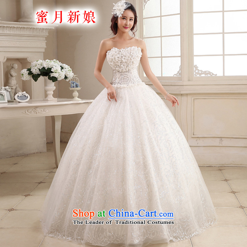 Honeymoon bride 2015 new products wedding Korean Chest Flower sweet Princess Mary Magdalene wedding to align bon bon straps wedding white聽L