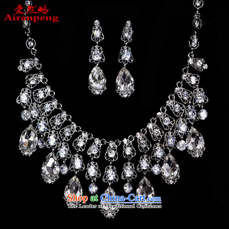 Love so brilliantly brighten up the bride-pang retro kit link water diamond necklace jewelry wedding accessories three sets of jewelry necklace Earrings