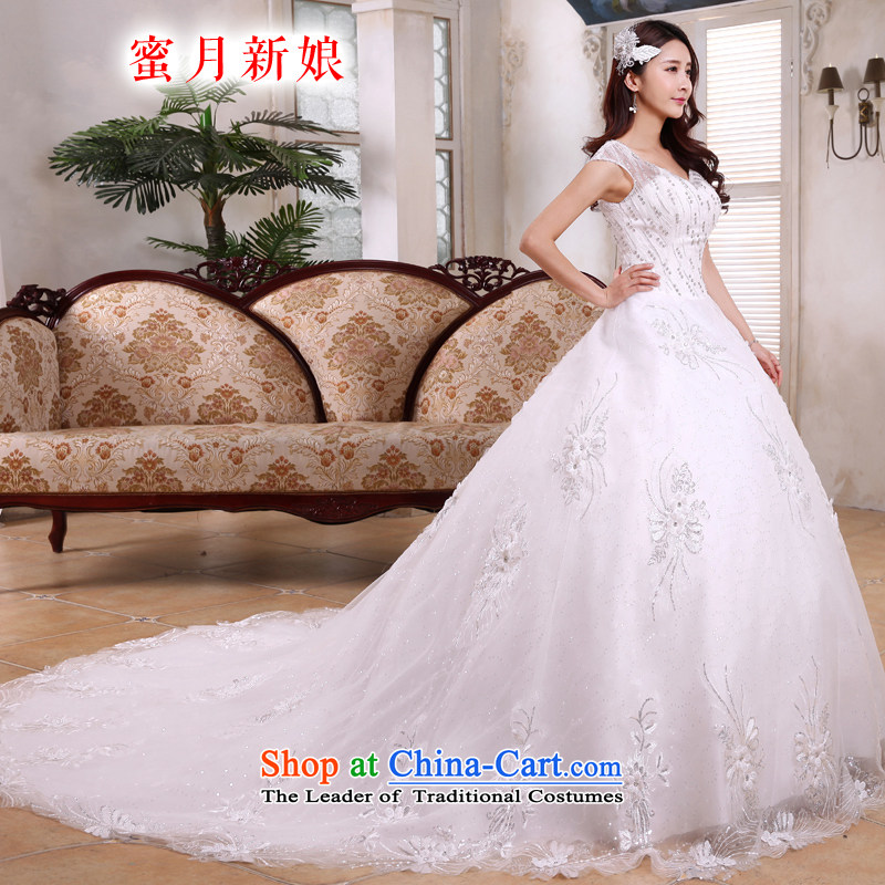Honeymoon bride 2015 new products wedding dresses Korean shoulders deep V-Neck long tail light slice wedding band wedding White?M