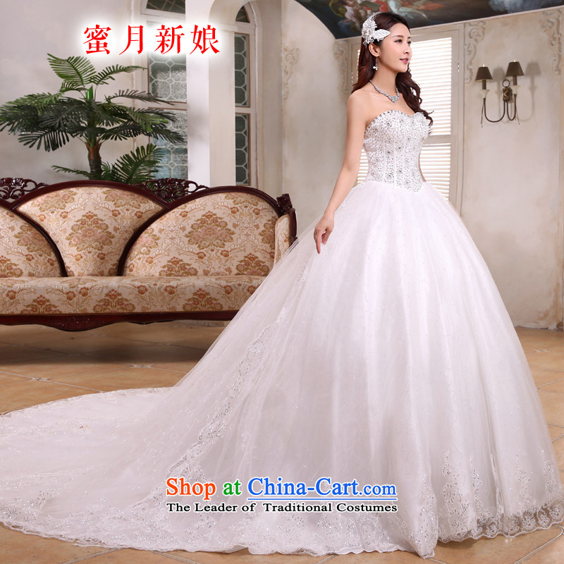 Honeymoon bride 2015 tail wedding Korean sweet Princess on chip and chest straps wedding tail of white聽S