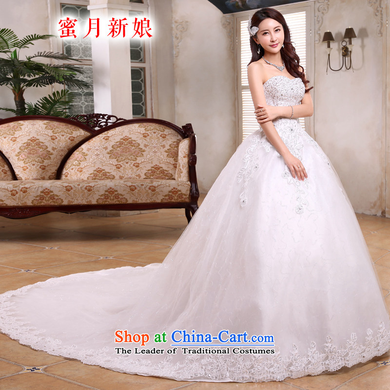 Honeymoon bride tail Wedding聽2015 new Korean video thin wiping the Chest Sau San wedding strap white聽M tail_