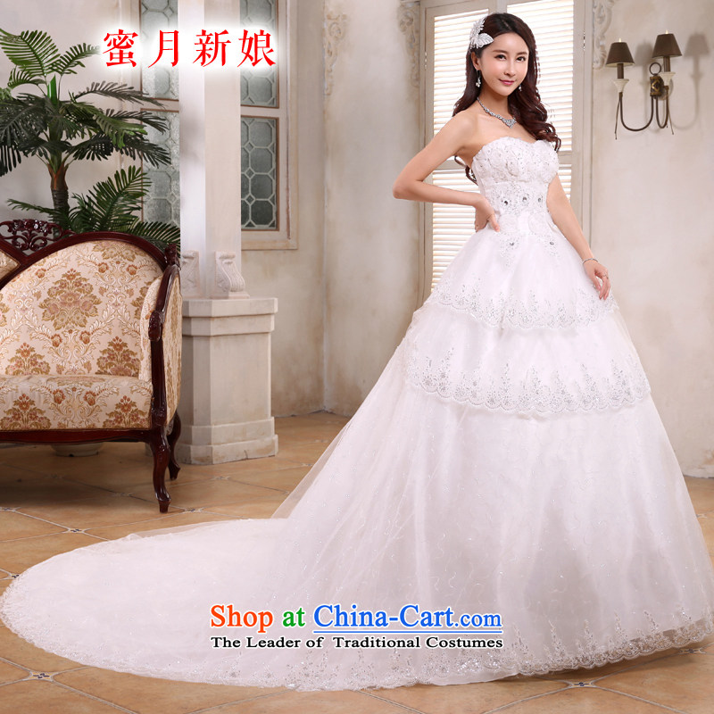Honeymoon bride 2015 new products tail wedding Korean video thin wiping the Chest Sau San wedding strap white聽M tail_