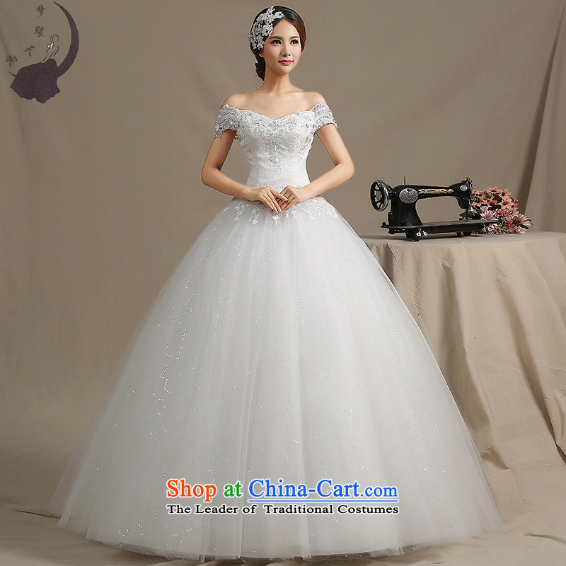 The leading edge of the field days shoulder wedding dresses 2015 new Korean fashion to align graphics thin wedding dress winter 1752 White?S