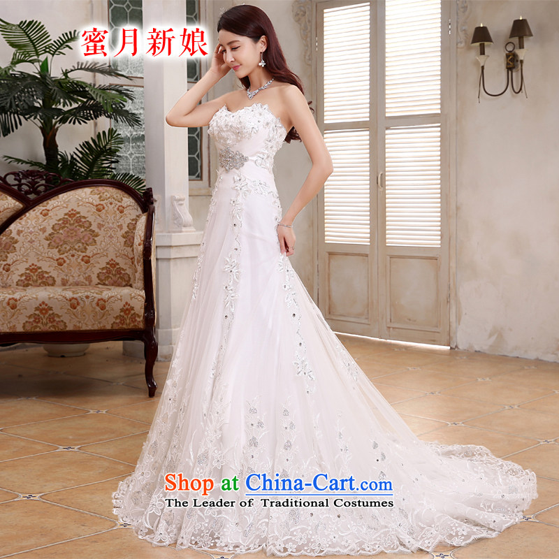 Honeymoon bride 2015 wedding dresses Korean diamond foutune crowsfoot wedding zipper tail wedding White聽M
