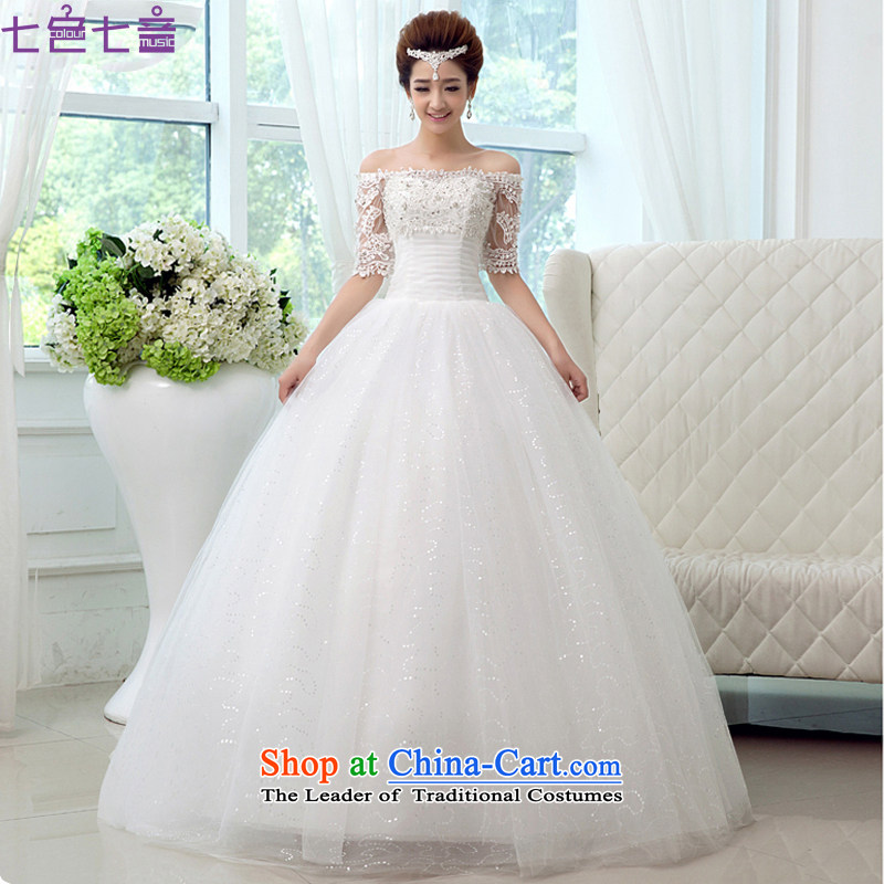 7 Color 7 tone Korean Word 2015 new shoulder water drilling in Princess lace cuff to align the wedding dress?H026?to align the White?XXL