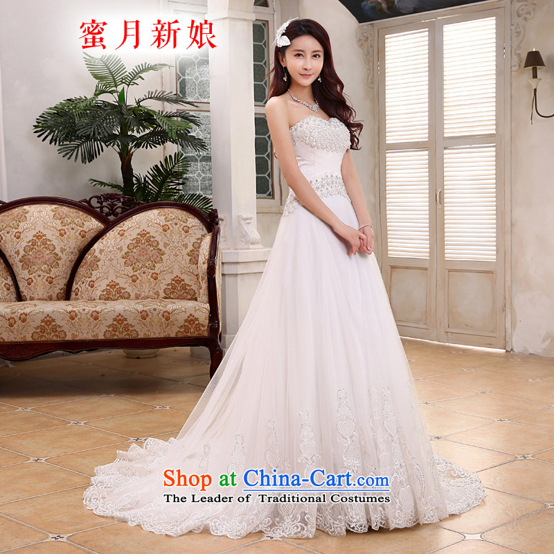 Honeymoon bride 2015 new products wedding dresses Korean foutune crowsfoot wedding tail zipper wedding white聽L