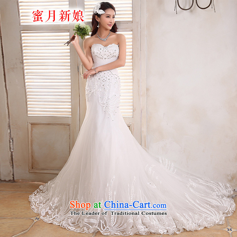 Honeymoon bride 2015 new products wedding dresses Korean Phoenix embroidery foutune crowsfoot wedding tail wedding white?L