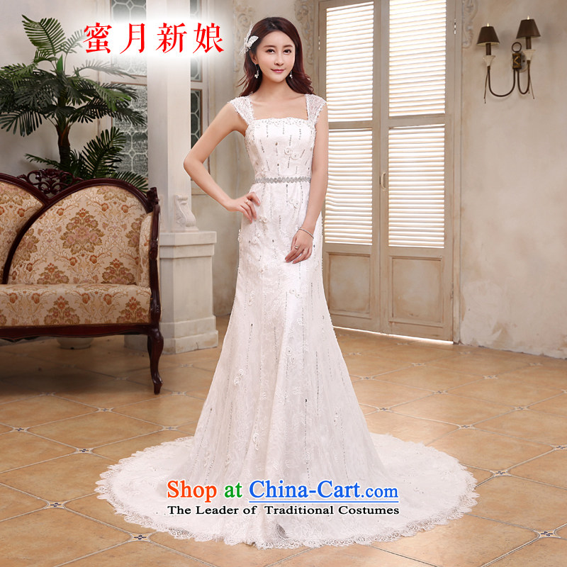 Honeymoon bride 2015 new products wedding dresses Korean Phoenix embroidery foutune crowsfoot wedding tail wedding White?M