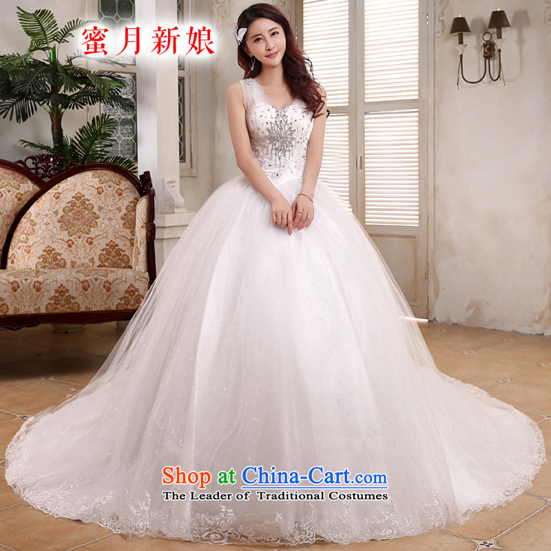 Honeymoon bride 2015 new products wedding dresses Korean shoulders deep V-Neck long tail light slice wedding band wedding white L