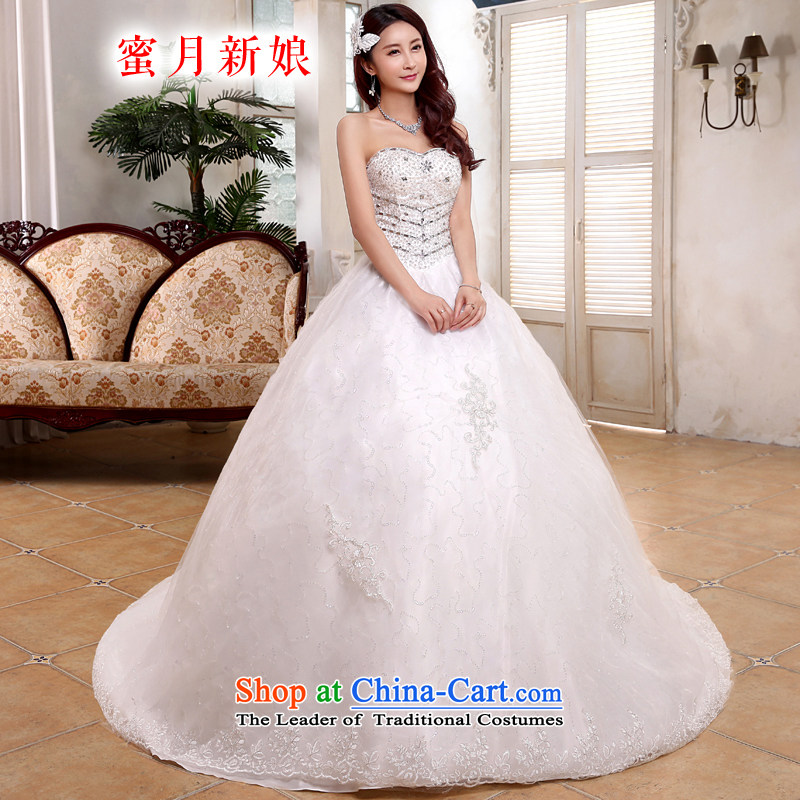 Honeymoon bride tail Wedding聽2015 new Korean video thin wiping the Chest Sau San Princess wedding band tail of white聽L