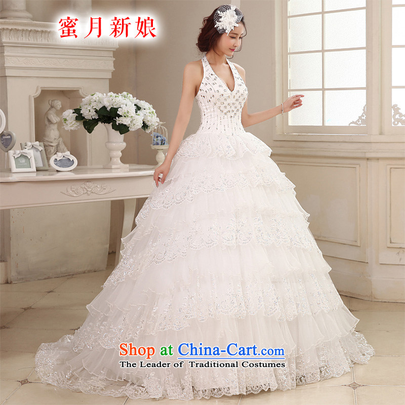 Honeymoon bride 2015 new products wedding dresses Korean diamond wedding gown hanging also romantic wedding gown trailing white聽M
