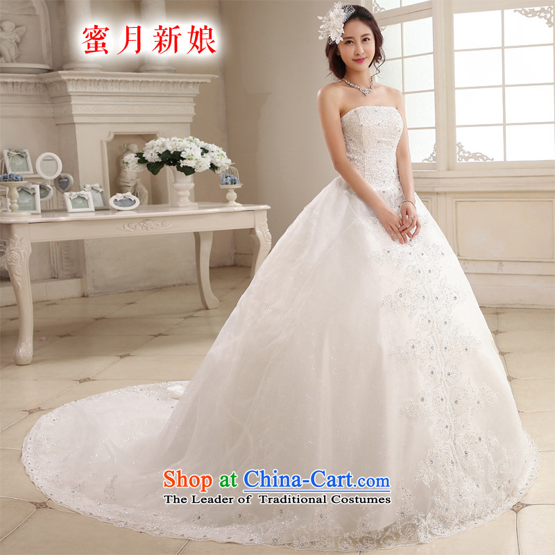 Honeymoon bride tail Wedding聽2015 new Korean video thin wiping the Chest Sau San wedding dress strap tail of white聽XL