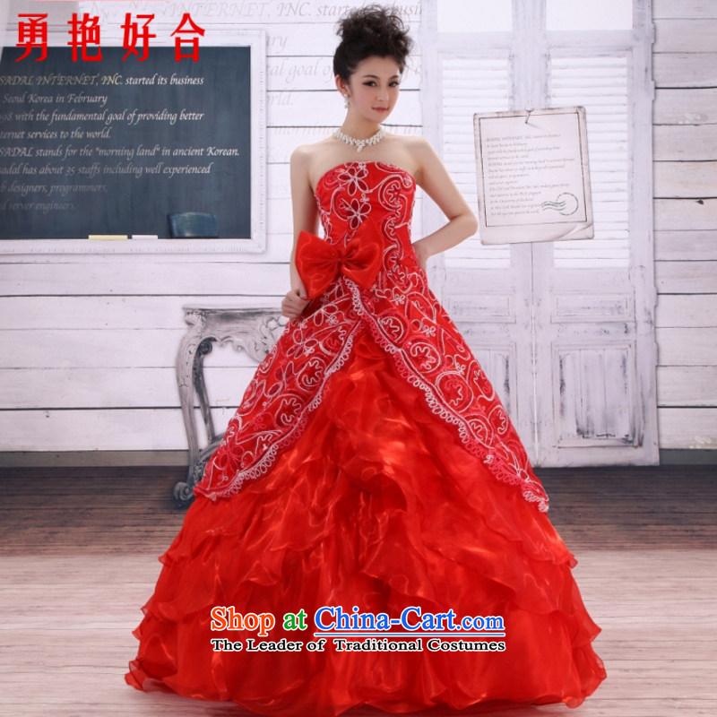 Yong-yeon and 2015 New wedding dresses red lace wedding Korean Princess wedding marriage red wedding bride wedding atmosphere to align the red XXL not refunded