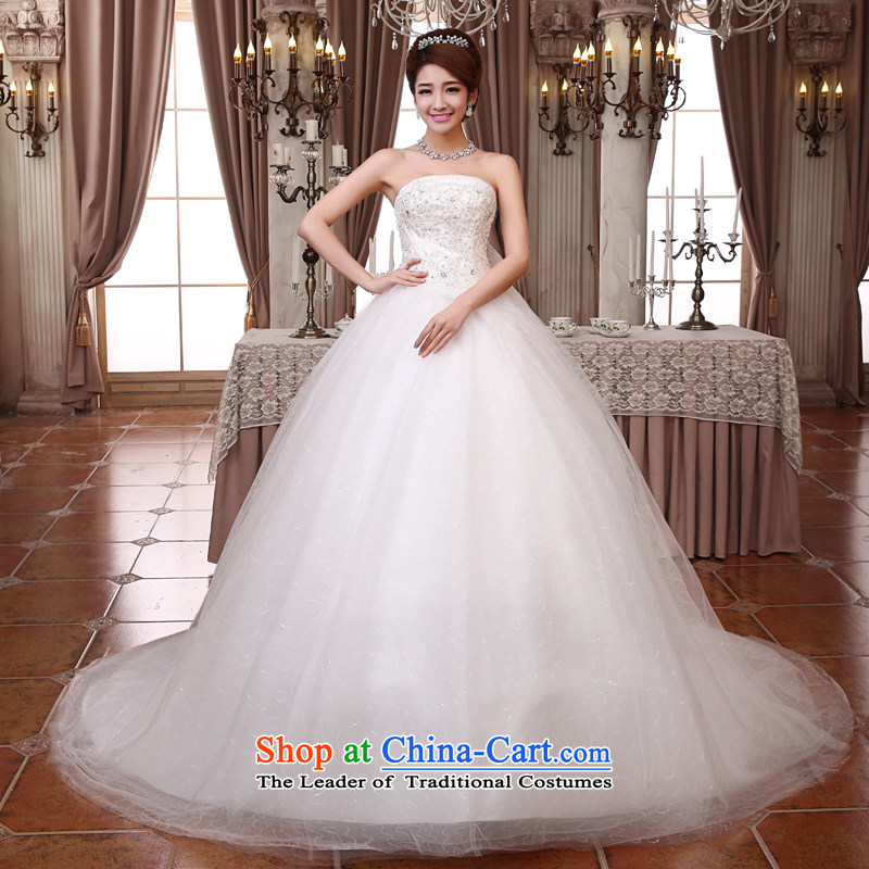 Embroidered bride wedding dresses is large tail 2015 new Korean anointed chest butterfly yarn tail of marriage?XXXL Suzhou Shipment