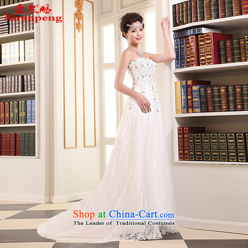 Love So simple and small tail-pang wedding dresses 2014 new summer Korean brides and stylish chest straps crowsfoot wedding?package returning M