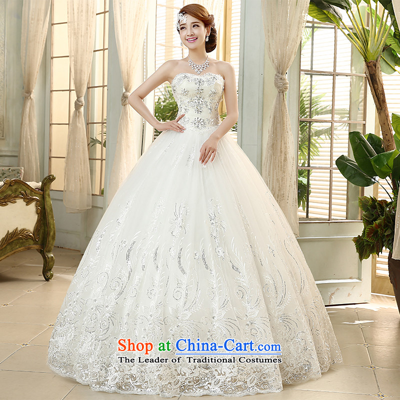 The new HIV wedding diamond heart-shaped anointed chest lace on chip petticoats straps marriages to align the wedding Korean�H-46�White�M )