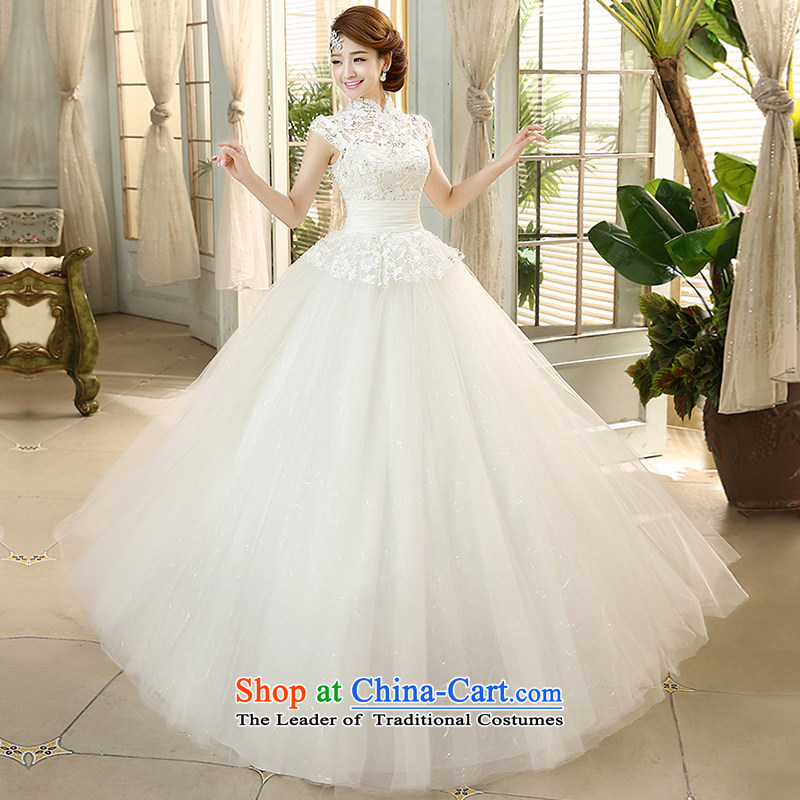The HIV?2015 Spring/Summer Wedding dress a field shoulder flowers lace retro collar straps Korean to align the princess Sau San yarn?H-45?white?L