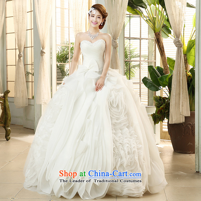 The HIV?2015 Spring_Summer wedding dresses and chest of nostalgia for the integrated Sau San with Korean sweet princess bon bon skirt?H-44?White?XL