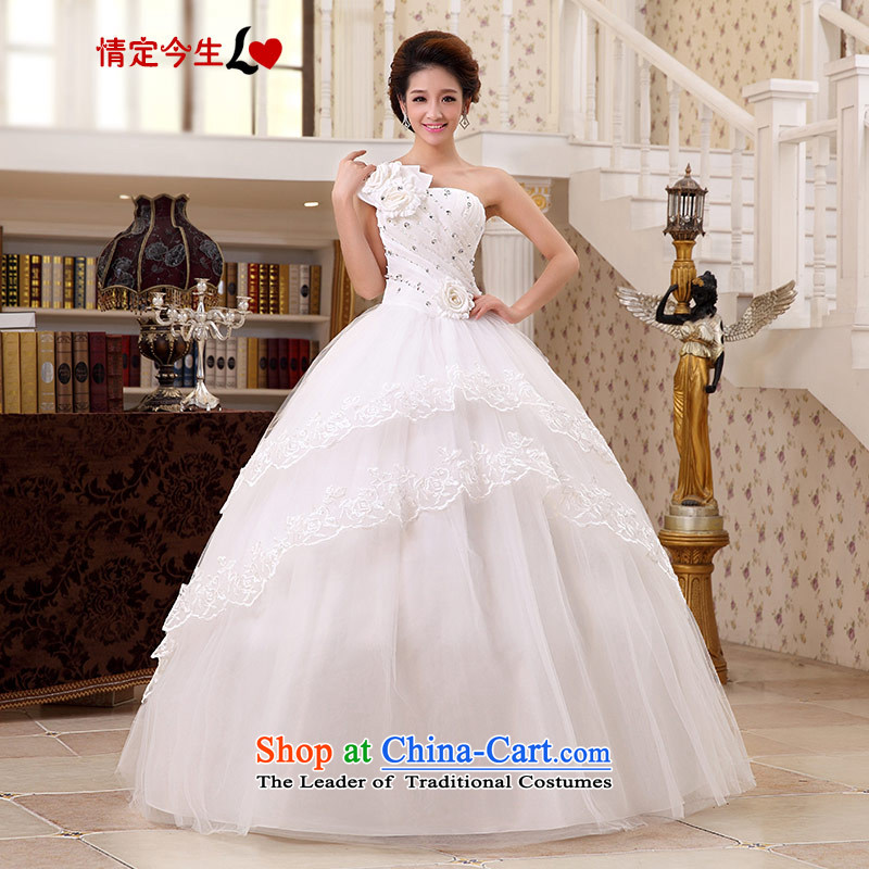 Love of the overcharged by 2015 new water drilling flowers Korean Princess Mary Magdalene Chest straps wedding to align the white wedding dresses wedding dress White聽M