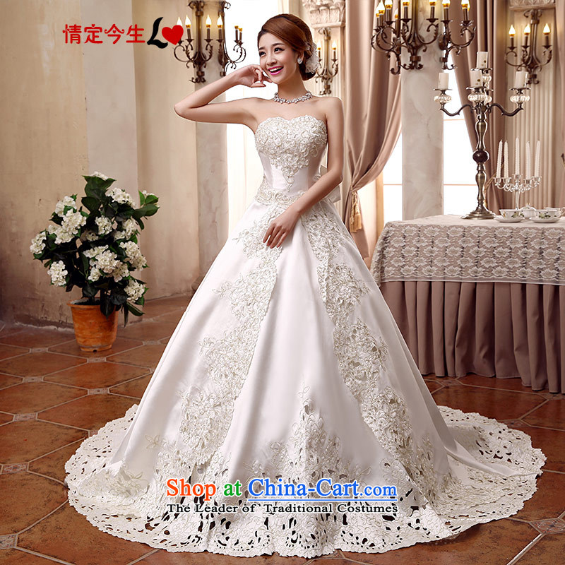 Love of the overcharged Korean style wedding video thin?2015 new bride to align the breast tissue tail twill satin straps Foutune of Princess Skirt holding m-white streak straps,?S 1 ft 9 waist
