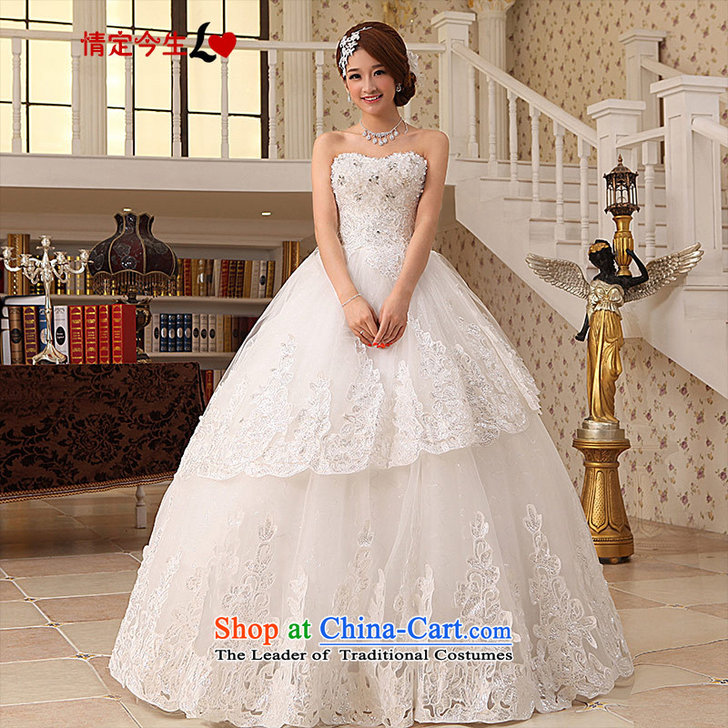 Love of the overcharged Korean large wedding lace 2014 anointed chest princess wedding video thin white wedding?XS