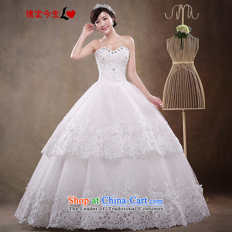 Love of the overcharged Korean sweet strap bride wedding dresses Summer 2015 New Princess bon bon heart-shaped skirt deep V-Neck Foutune-lace anointed chest White?XXL