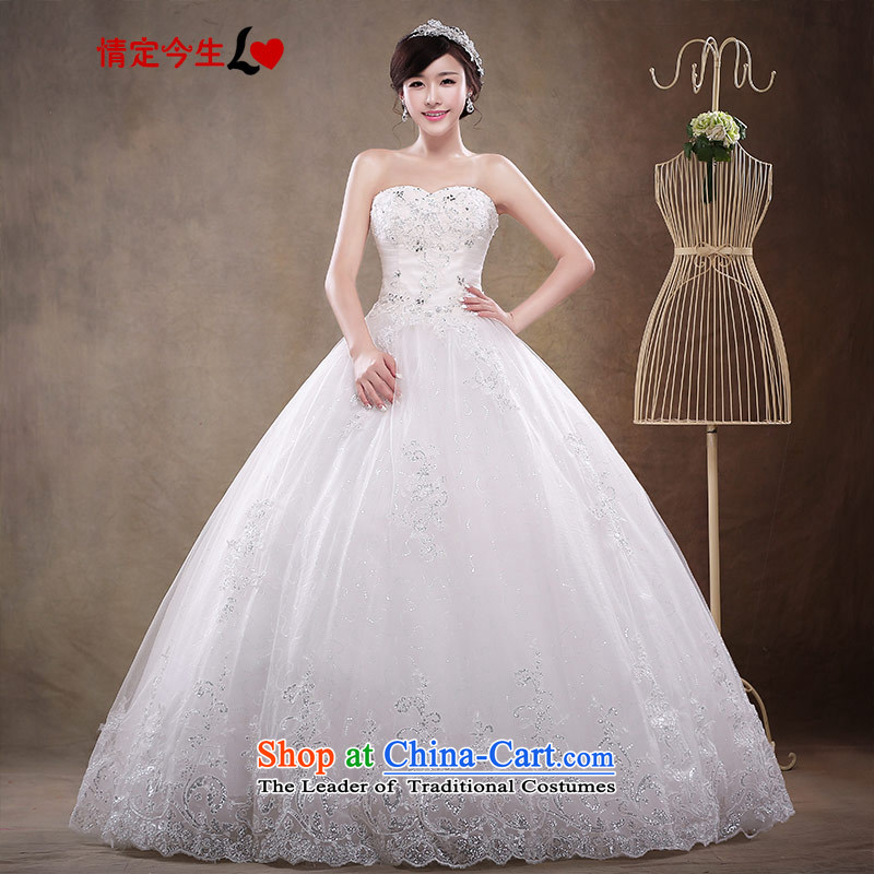 Love of the overcharged wedding dresses?2015?new alignment with Chest Korean elegant wedding dresses and stylish lace of European root yarn bon bon skirt White?M