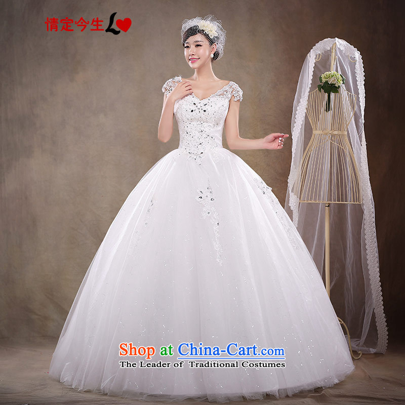 Love of the brainstorming session in the spring 2015 women white bride to align the new Korean light retro V-Neck wedding dress stylish lace, Ladies European root yarn white?L