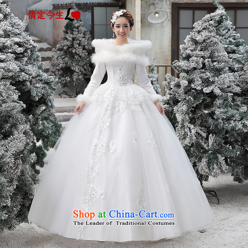 Love of the overcharged Korean winter wedding dresses the Word?2015 new winter shoulder long-sleeved gross for thick winter, Wedding Dress female White?XL
